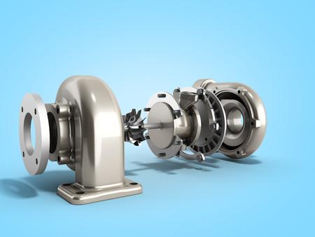 Automotive turbocharger turbine 3d render on blue Stock Photo