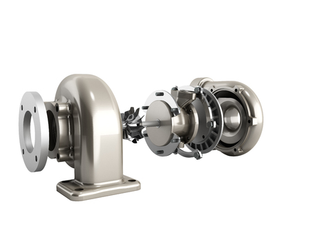 Automotive turbocharger turbine 3d render on white no shadow