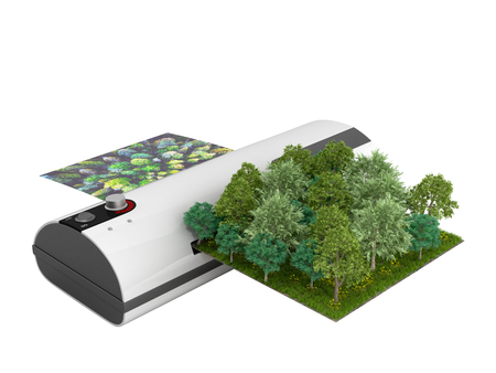 Modern high resolution wide format printing concept The real forest is transformed into an image passing through the printer 3d render on white no shadow Фото со стока