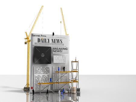 news building concept builders stick newspaper columns on a blank newspaper sheet 3d render on glass flor