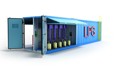 LPG gas filling station 3d render on white Stock Photo