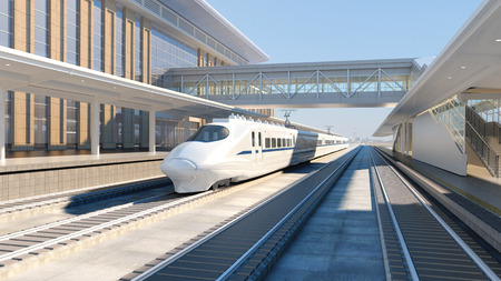White modern high speed train on railway station at sunset Railway tourism 3d render 免版税图像