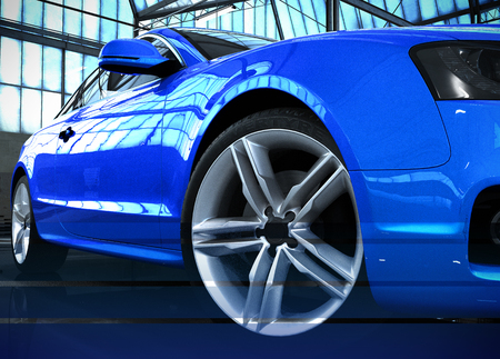 stylized car image blue car standing in the hangar 3d render image