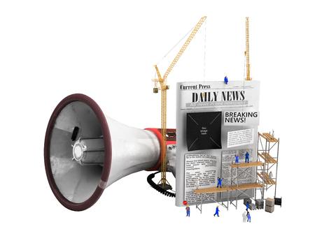 concetto di creazione di notizie I costruttori incollano il testo su un giornale vuoto accanto a un altoparlante che simboleggia la propaganda 3d render su bianco senza ombra