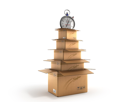 New Years Shipping Concept cardboard boxes in the shape of a Christmas tree 3d render on white