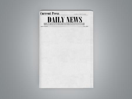 krant in stapel 3d render op grijs