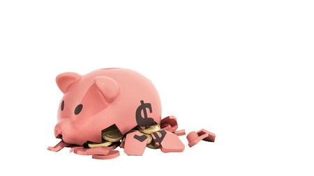 Savings spending concept pink ceramic piggy bank completely broken up into several large pieces