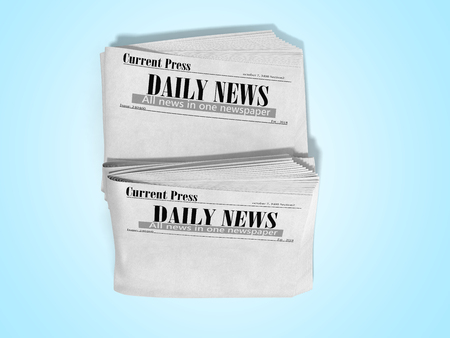 empty newspaper in stack 3d render on blue 스톡 콘텐츠