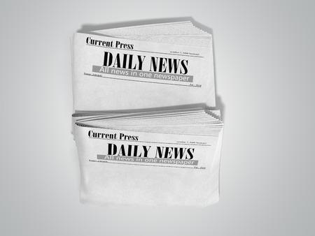 empty newspaper in stack 3d render on grey