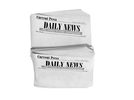 empty newspaper in stack 3d render on white no shadow