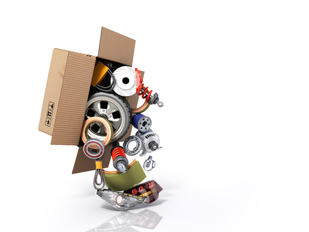 modern concept of vehicle maintenance automotive supplies delivery car parts in open box 3d render on a white