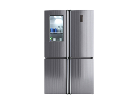 Stainless steel modern refrigerator on white no shadow 3d illustration 免版税图像