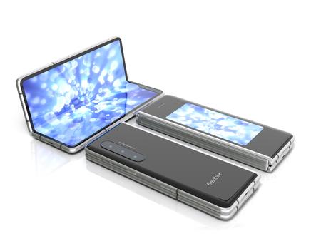 First serial flexible phone 3d render on white Stock fotó