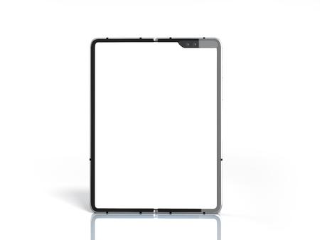 Modern flexible smart phone White screen for mockup 3d render on white Imagens