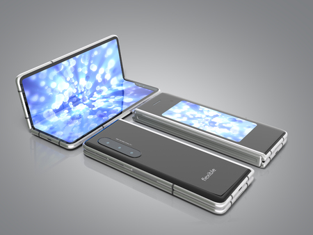 First serial flexible phone 3d render on grey background