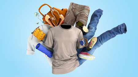 concept of product categories clothing and accessories on blue background Archivio Fotografico