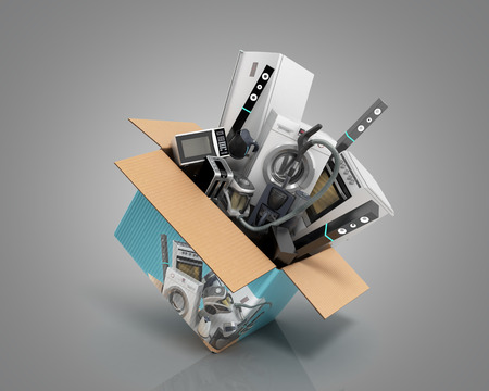 concept of product categories large household appliances crashes out of the box 3d render on grey Zdjęcie Seryjne