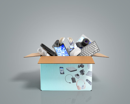 concept of product categories small consumer electronics in the box on grey background