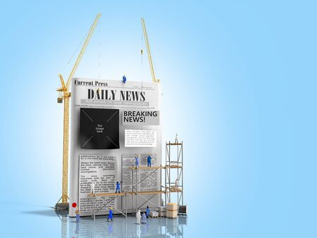 news building concept builders stick newspaper columns on a blank newspaper sheet 3d render on blue greadient