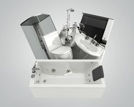 concept of product categories sanitary engineering on grey background Reklamní fotografie