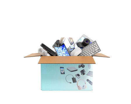 Concept of product categories small consumer electronics in the box 3d render on white no shadow