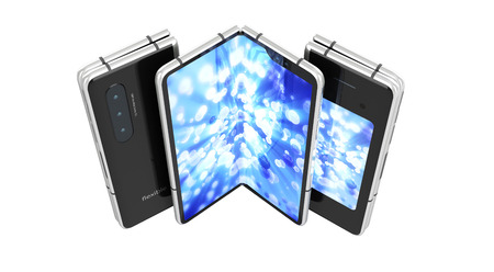 First serial flexible phone with color screen 3d render on white  no shadow Imagens