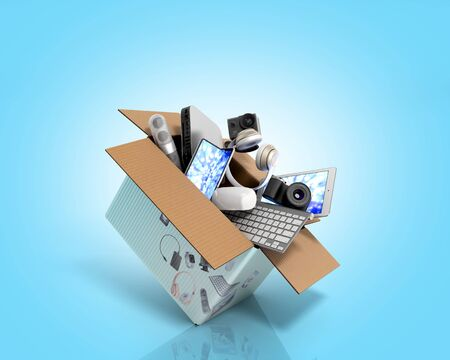 concept of product categories small consumer electronics fly out of the box 3d render on blue gradient Stockfoto