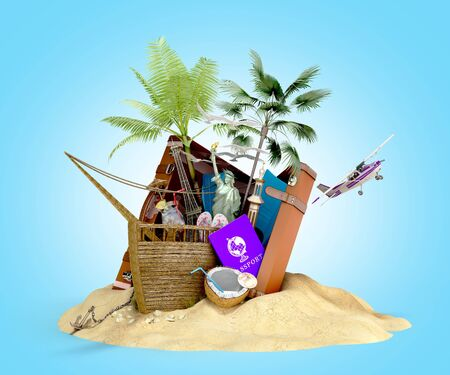 Concept of travel and tourism attractions and brown suitcase for travel 3D illustration on blue gradient Imagens - 127758405