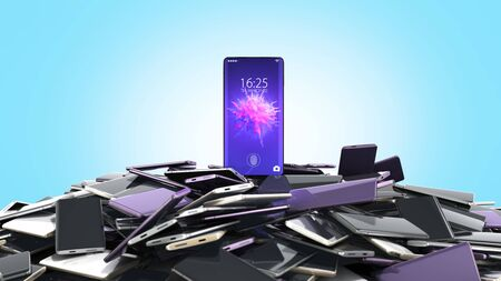 concept of flagman model Modern full screen smart phones random color 3d render on blue gradient 版權商用圖片