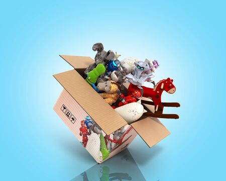 concept of product categories toys fly out of the box 3d render on blue gradient Zdjęcie Seryjne
