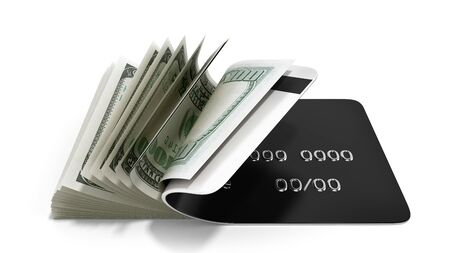 concept of cash withdrawal payment by card dollar bills fall out of the card 3d render on white Stock Photo