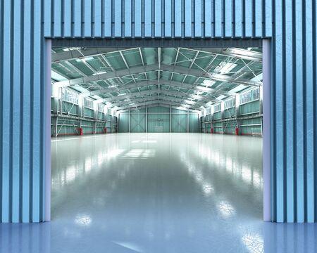 empty Hangar delivery warehouse 3d render illustration Stock Illustration - 129613186