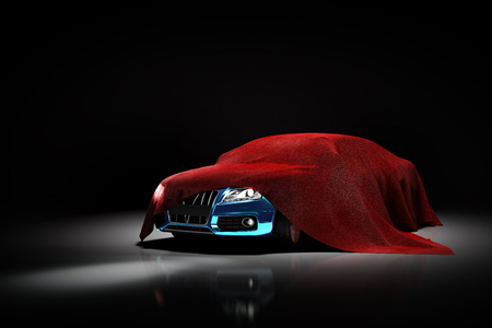 concept of presentation of the car under a red cloth in a darck studio 3d rendering Illustration