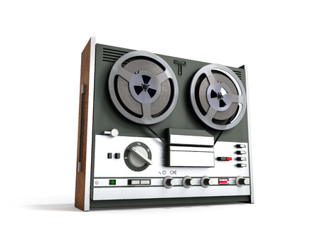Old portable reel to reel tube tape recorder 3d render on white