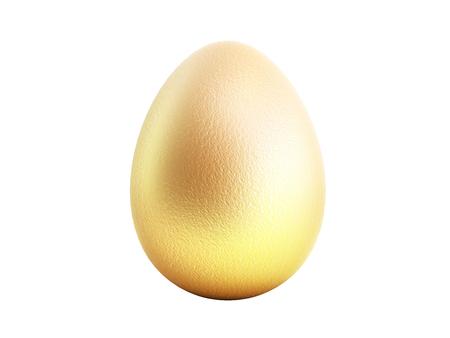 Single golden egg 3d render on white no shadow