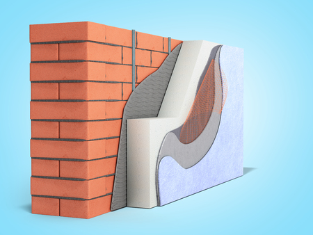Layered brick wall thermal insulation concept 3d render on blue gradient