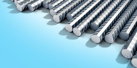 Reinforcement steel bar Steel building armature corner   on blue gradient