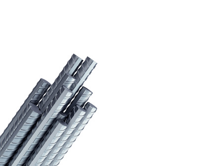 Reinforcement steel bar Steel building armature from corner 3d illustration 스톡 콘텐츠 - 121848929