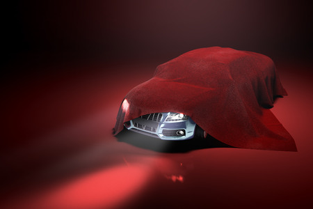 concept of presentation of the car under a red cloth in a darck red studio 3d rendering Illustration