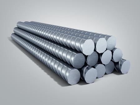 Reinforcement steel bar Steel building armature 3d illustration on grey gradient background 스톡 콘텐츠 - 122263311