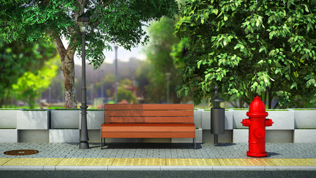 street background bench on the sidewalk 3d render image