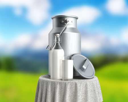 milk can container near the bottle and glass of milk on table 3d render on nature background