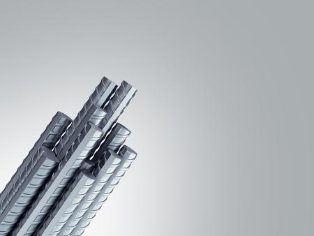 Reinforcement steel bar Steel building armature from corner 3d illustration on grey gradient 스톡 콘텐츠 - 122259816