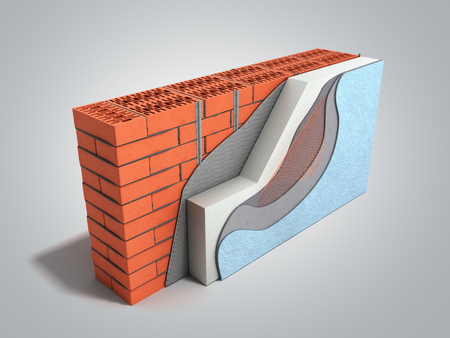 Layered brick wall thermal insulation concept 3d render on grey gradient background Banque d'images