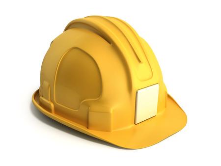 Fondo de sombrero duro Herramientas de construcción 3D Render sobre blanco Foto de archivo