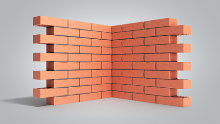Piece of brick wall 3d render on grey gradient Foto de archivo