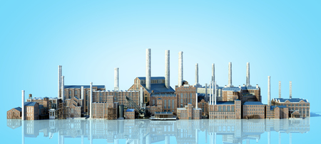 Old industrial buildings with reflection 3d rendering image on blue gradient