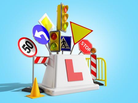 Concept of driver school logo road signs traffic lights fencing 3d render on blue