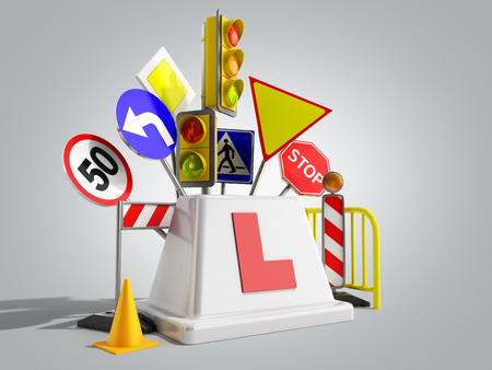 Concept of driver school logo road signs traffic lights fencing 3d render on grey