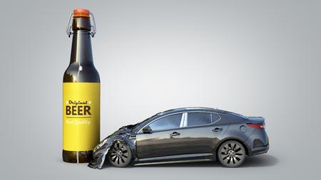 Drunk driving concept car crashed on a bottle 3d render on grey gradient